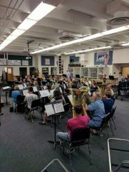 First rehearsal of the combined group: 2017-18 Wind Symphony students and 1953-2006 alumni of the WRHS music programs